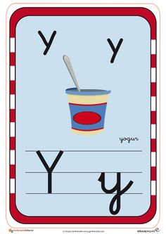 Recursos para el aula: Tarjetas del abecedario Tarjetas con todas las letras del abecedario, con imagenes para repasar con los Teaching The Alphabet, Pink Color, Activities For Kids, Symbols, Letters, Logos, Pink Things, Colouring In, Molde