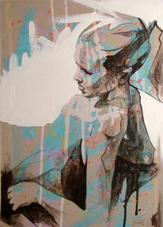"""""""Figure Study Painting"""" - DOC (Danny O'Connor), acrylics and emulsion {contemporary figurative #expressionist art beautiful female grunge seated woman profile painting drips}"""