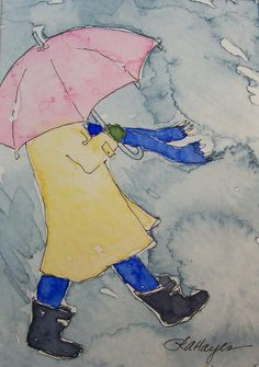 Umbrella in the Rain Print of Watercolor Painting by RoseAnn Hayes, available in Etsy shop