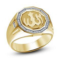 14K Yellow Gold Finish Simulated Diamond 925 Silver Allah Men's Band Ring 7-14 #beijojewels #MensBandRing #EngagementWeddingAnniversaryPartyWear