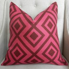 Decorative Designer Pillow Cover - 18X18 -  David Hicks for Lee Jofa - Groundworks - La Fiorentina in Magenta