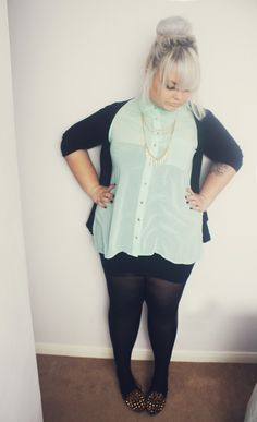 Hayley Barnes - New Look Mint Shirt, Studded Leopard Loafers, Handmade Spike Chain Necklacw - Minty Plus Size