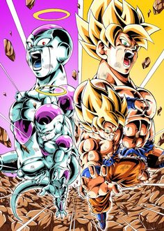 Ssj goku and Frieza Dragon Ball Z, Dragon Ball Image, Goku Vs Frieza, Dbz Vegeta, Super Goku, Ball Drawing, Fanart, Son Goku, Animes Wallpapers
