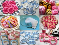 At first I thought these were cookies, but they are sewed up little tea trinkets! Great favors for a tea party.