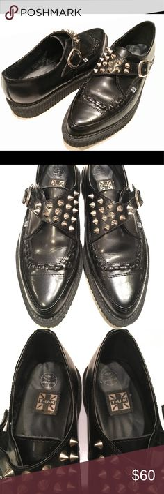T.U.K. Leather Silver Spike Studded Creepers EUC. Women's size 8.5. Leather. T.U.K Shoes