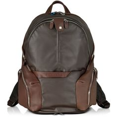 Piquadro Nylon & Leather Computer Backpack (1.695 BRL) ❤ liked on Polyvore featuring mens, men's bags and brown