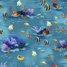 TURQUOISE-UNDER THE SEA SCENIC Digitally Printed Fabric Item# 24592-Q Quilting Fabric - Buy at Tea Time Quilting $14.95 per yard