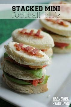 Stacked Mini Football BLT's, Super Bowl Party Food! An easy party menu that you can make stress-free!