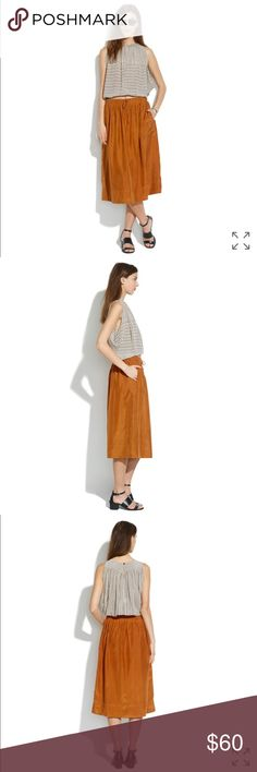 """Madewell silk drawstring skirt Sold out! In perfect condition. So light and pretty in a perfect mid-calf length, this is the pull-on skirt you can pair with everything you own.    Full skirt. 28 7/8"""" long. Silk. Pockets. Dry clean. Import. Madewell Skirts Midi"""