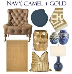 My picks for a navy, camel + gold color palette for fall!