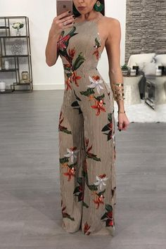 Floral Printed Halter Open Back Casual Wide Leg Jumpsuit We Miss Moda is a leading Women's Clothing Store. Backless Jumpsuit, Jumpsuit Outfit, Floral Jumpsuit, Summer Jumpsuit, Sequin Jumpsuit, Short Jumpsuit, White Jumpsuit, Pant Jumpsuit, Long Jumpsuits