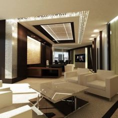 modern ceo office interior design - mix white furniture with wood theme