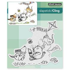From the Penny Black 2015 Bring on the Happy release FURRY FLIGHT - cling mounted (slapstick) stamp item #40-396 measures approx. 4.5x4