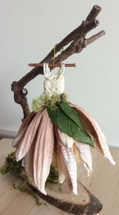 Fairy's Work by Olive* Miniatures , Dress Found in the Garden. Miniature Fairy Dress with Branch Dress Stand ~ Handcrafted by Olive - Fairy's Work by Olive Miniatures Dress Found in the Garden Furniture Design, Fairy Garden Furniture, Fairy Garden Houses, Furniture Ideas, Fairy Crafts, Fairy Clothes, Fairy Figurines, Fairy Dress, Fairy Skirt