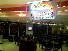 Jimmy's Killer Prawns 6016 Westwood Mall Prawn, Mall, Restaurants, Broadway Shows, Neon Signs, Diners, Broadway Plays, Restaurant