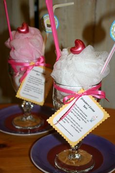 Cute and Fat Free .. . Everything you need to take a relaxing bath all wrapped up in one yummy treat! Just created these Strawberry Bath Sundaes for a customer. Each sundae glass contians vanilla scented bath salts and comes complete with a strawberry tealight candle, sponge, and a strawberry heart shaped bath oil bead! A spoon and straw to complete the look.
