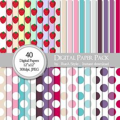 SALE 40 Digital Paper Pack Strawberry Stripe Dot by rueastyle