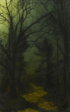John Atkinson Grimshaw A wooded landscape with a woman walking on a path in the moonlight Dark Landscape, Watercolor Landscape, Landscape Paintings, Dark Fantasy Art, Dark Art, Pictures To Paint, Art Pictures, Photos, Nocturne