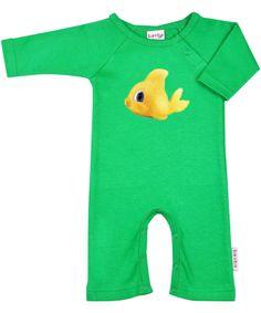 Adorable combinaison verte avec poisson par Baba Babywear #emilea