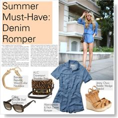 Summer Must-Have: Denim Romper by thosewhowonderarenotalwayslost on Polyvore featuring Abercrombie & Fitch, Jimmy Choo, A.L.C., Banana Republic and CÉLINE