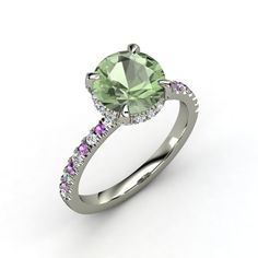 Green Amethyst + Diamonds + Amethysts + White Gold Carrie Ring ~ Love, love, love