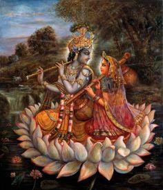 Radha Krishna appear on lotus Lord Krishna Images, Radha Krishna Pictures, Radha Krishna Photo, Krishna Photos, Shree Krishna, Krishna Art, Radhe Krishna, Krishna Lila, Krishna Statue