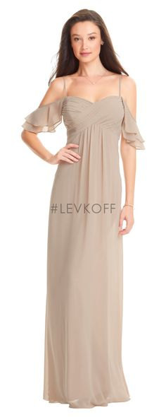 8fc45116194a Style 7057 from by Bill Levkoff is an off the shoulder chiffon bridesmaid  gown that has double flounce sleeves and spaghetti straps, a criss-cross  ruched ...