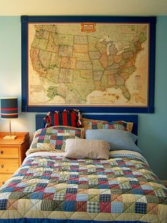 would love to get a big old looking framed map for the boys room.
