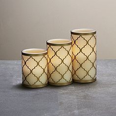awesome Set of 3 Flameless Ivory Candles and with Brass Holders