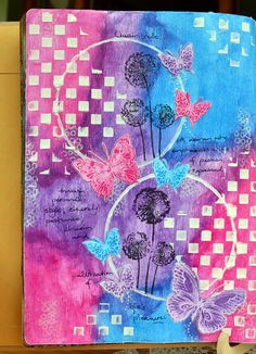 Sharing an art journal page using #BoBunny #ButterflyKisses stamp and #BetheLight stamps