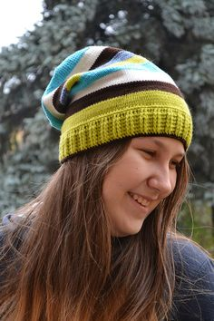 Knitted multicolor acrylic beani cap hat turquoise by DosiakStyle