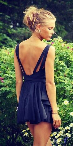 #summer #style / open-back black playsuit