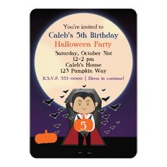 Vampire Birthday Invitations Little Dracula Halloween Birthday Party Invitation