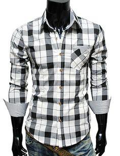 Mens casual stripe patch checker shirt