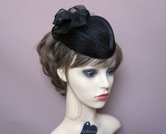 black pillbox hat fascinator with bow & birdcage by LisLarsonHats