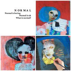 Norwegian artist - Kari Anne Marstein - contemporary art - red art - ART KUNST PAINTING What is Normal?