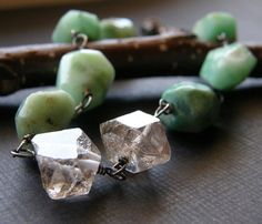 Super pretty chrysoprase and herkimer diamond bracelet - rachelungerjewelry on etsy.com. Love!