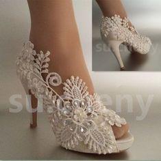 """3"""" 4"""" Salto Cetim Branco Marfim Renda Pérolas aberto Toe Sapatos De Casamento Noiva Tamanho 5-11 #weddingshoes"""