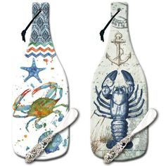Nautical bottle shaped cutting boards. Great gift idea. Several designs to choose from: http://www.completely-coastal.com/2015/09/coastal-picture-glass-cutting-boards-counter-art.html