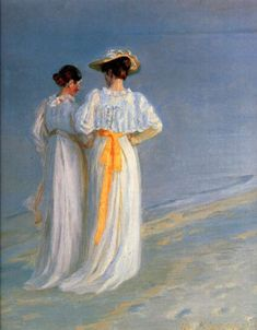 Summer Evening on the South Beach of Skagen, Anna Ancher and Marie Kroyer - Michael Ancher (1849-1927)
