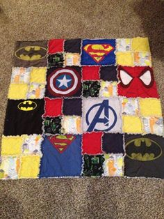 Superhero T-shirt Quilt- Great sewing project for a baby or toddler boy.