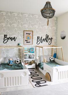 Toddler Boy Room Decor, Toddler Rooms, Boys Room Decor, Kids Rooms, Toddler Boy Beds, Toddler Bedroom Boys, Toddler Bedding Boy, Baby And Toddler Shared Room, Boy Decor