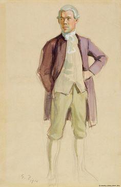 Finnish National Gallery - Art Collections - Seisova rokokoopukuinen mies (F.E. Sillanpää), harjoitelma Aurora-seuraa varten 1916