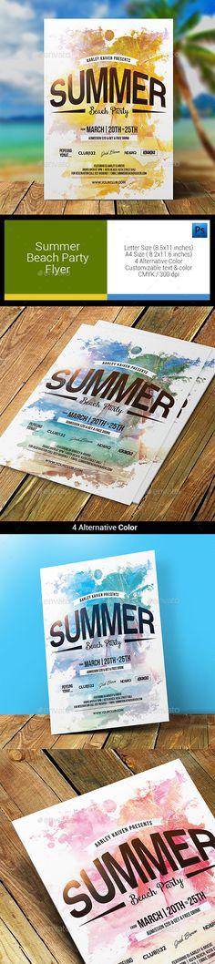 Summer Beach Party Flyer Template #design Download: http://graphicriver.net/item/summer-beach-party-flyer/11866103?ref=ksioks