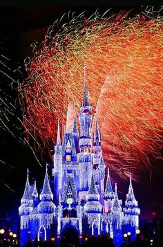 Cinderella' Castle at Christmas with fireworks in the background!