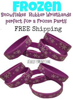 Frozen snowflake wristbands perfect for a Frozen Party favor #Frozen #disney #Partyfavor