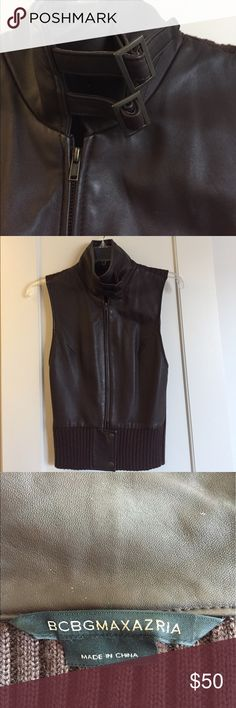 Women's vest Leather and sweater vest. Great for Spring or Fall. Details are gorgeous. Only worn 2x BCBGMaxAzria Other