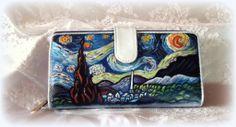 portafogli dipinti a mano#portafogli dipinti#portafogli in pelle#hand-painted wallets#la notte stellata van gogh#