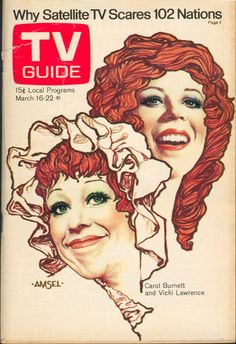 "March 16, 1974. Carol Burnett and Vicki Lawrence of CBS's ""The Carol Burnett Show"" (illus. by Richard Amsel)"