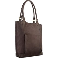 Solo Premium Leather 16' Laptop Bucket Tote, Brown